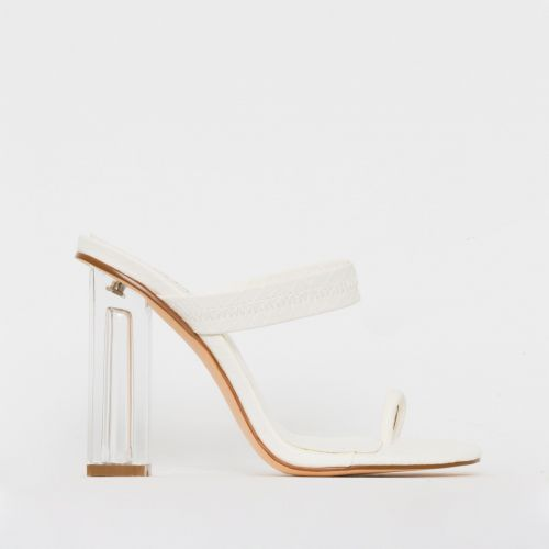 Caris White Croc Print Toe Loop Clear Block Heel Mules