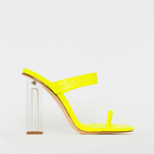 Caris Yellow Croc Print Toe Loop Clear Block Heel Mules