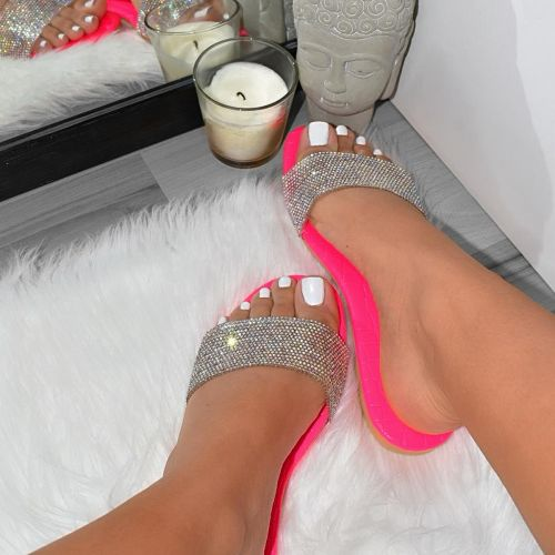 Carly Pink Croc Print Diamante Sliders