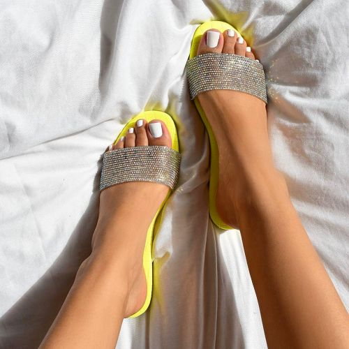 Carly Yellow Croc Print Diamante Sliders
