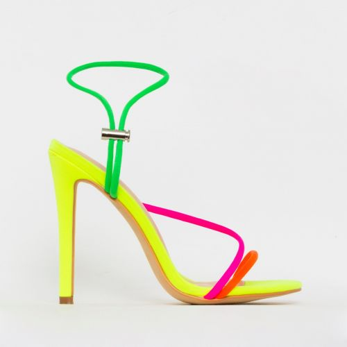 Cherry Bright Yellow Multi Strappy Toggle Heels
