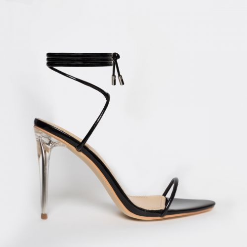 Gemini Black Patent Lace Up Clear Heels