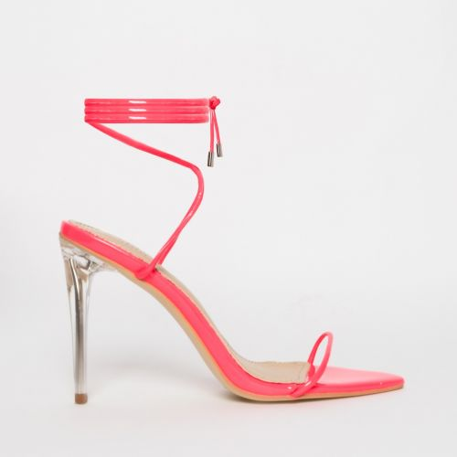 Gemini Fuschia Patent Lace Up Clear Heels