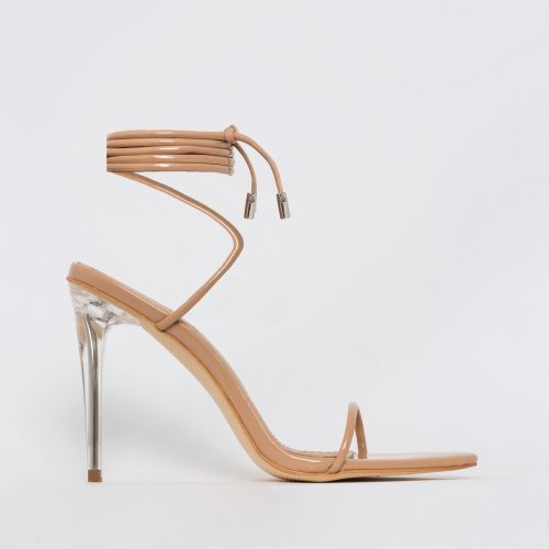 Gemini Nude Patent Lace Up Clear Heels