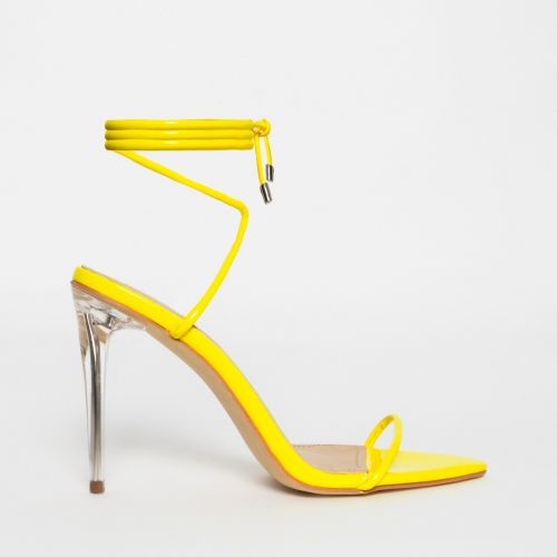 Gemini Yellow Patent Lace Up Clear Heels