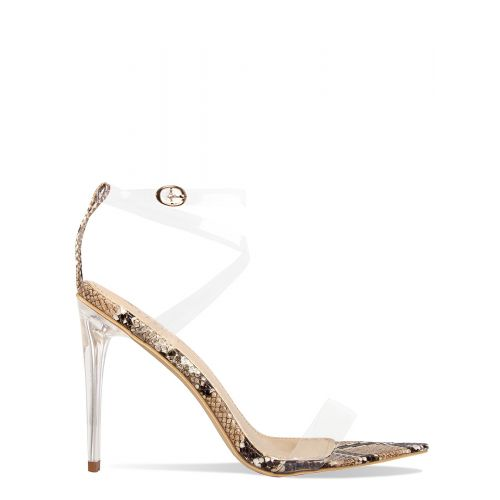 Cassie Beige Snake Pointed Toe Clear Heels