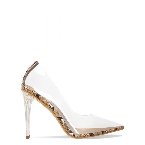 Neda Beige Snake Clear Stiletto Court Shoes