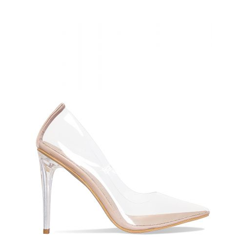Neda Nude Clear Stiletto Court Shoes