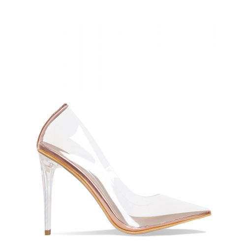 Neda Rose Gold Clear Stiletto Court Shoes