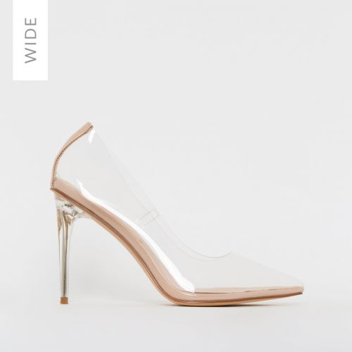 Neda Wide Fit Nude Clear Stiletto Court Shoes