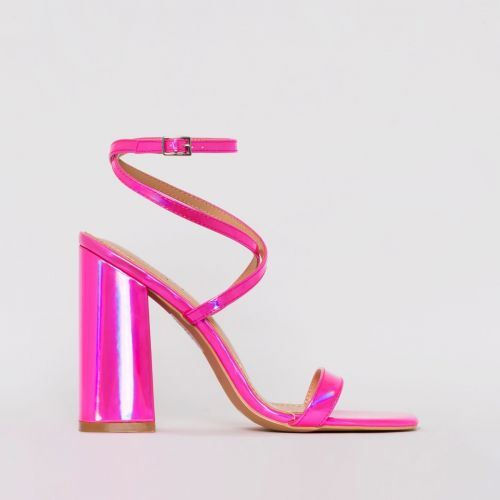Blaise Pink Iridescent Strappy Block Heels