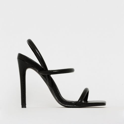 Imala Black Snake Print Strappy Stiletto Heels