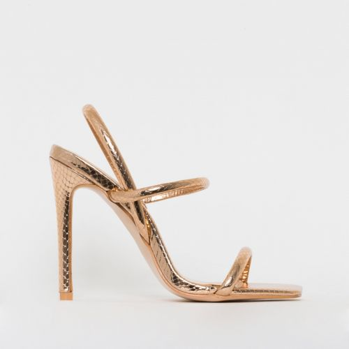 Imala Rose Gold Snake Print Strappy Stiletto Heels