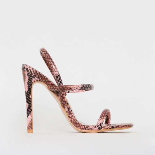 Imala Pink Snake Print Strappy Stiletto Heels