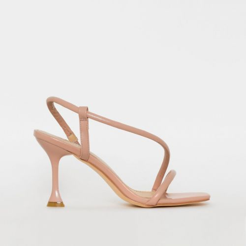 Katrissa Nude Asymmetric Strappy Mid Flared Heels