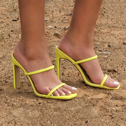 SONIA X FYZA Contour Bright Yellow Snake Print Strappy Mules
