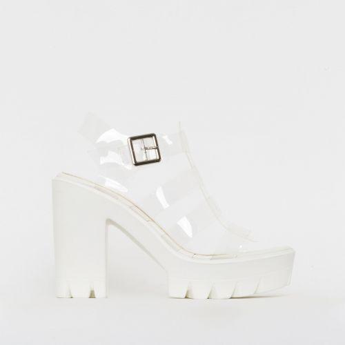 Daisy Clear White Chunky Platform Heels