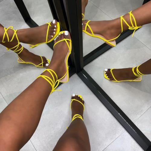 Daryl Yellow Patent Python Print Sandals