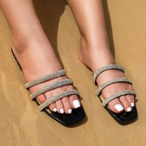 SONIA X FYZA Dewy Black Diamante Sandals