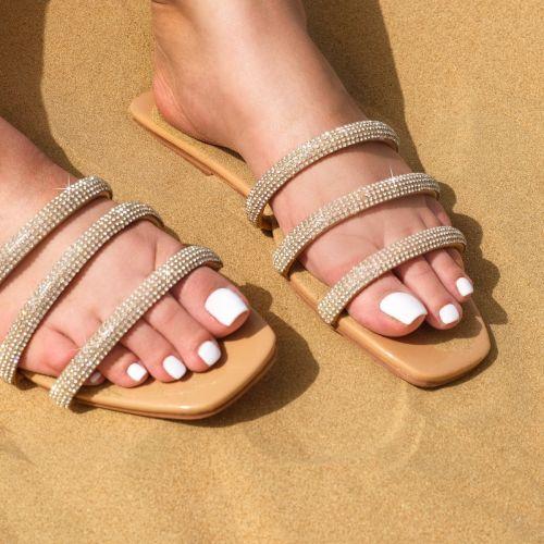 SONIA X FYZA Dewy Nude Diamante Sandals