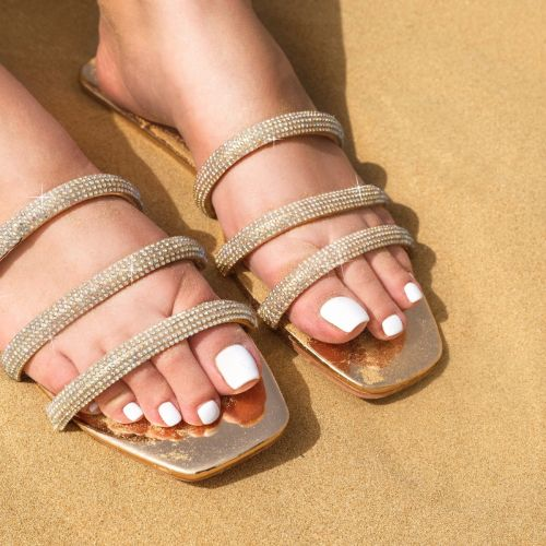 SONIA X FYZA Dewy Rose Gold Diamante Sandals