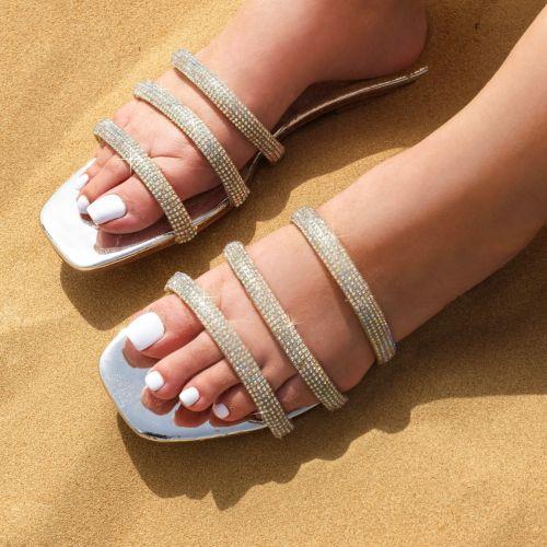 SONIA X FYZA Dewy Silver Diamante Sandals