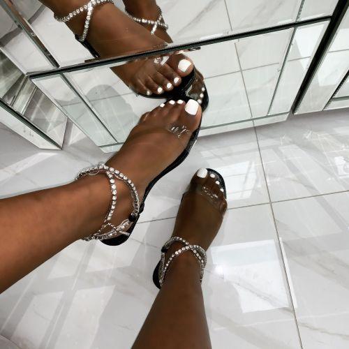 Diaz Black Snake Print Diamante Flat Sandals