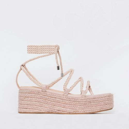 Dina Light Pink Rope Lace Up Espadrille Flatforms