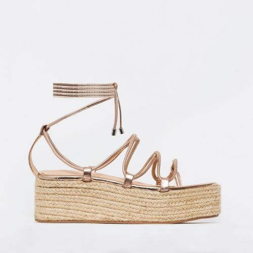 Dina Rose Gold Rope Lace Up Espadrille Flatforms