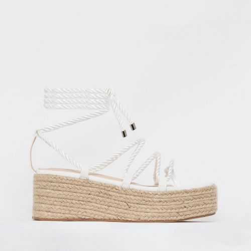 Dina White Rope Lace Up Espadrille Flatforms