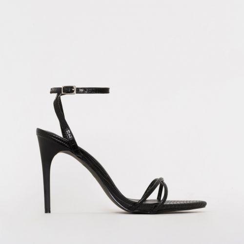 Drew Black Lizard Print Strappy Heels