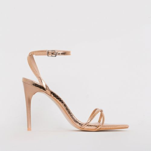 Drew Rose Gold Snake Print Strappy Heels