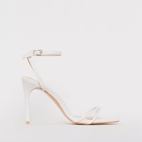 Drew White Lizard Print Strappy Heels