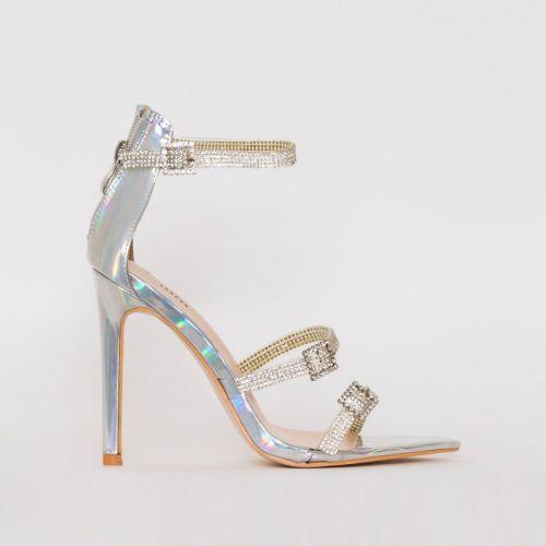 Ophelia Silver Iridescent Diamante Buckle Strappy Heels