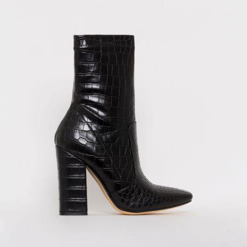 Tanya Black Croc Print Block Heel Ankle Boots