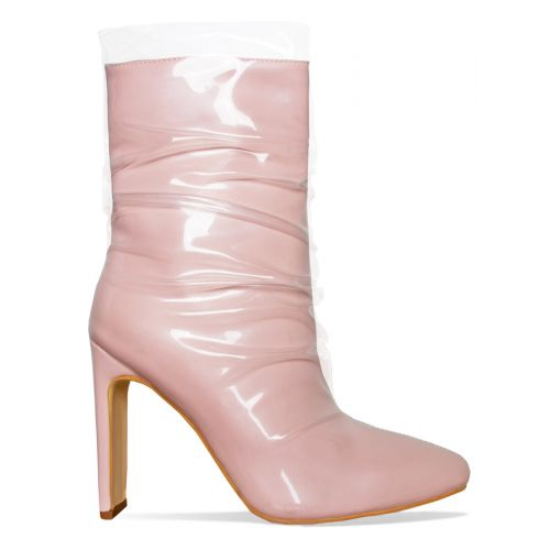 Elisha Pink Patent Clear Ankle Boots