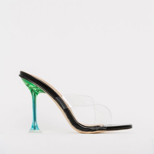 Elvie Black Patent Clear Multi Mule Heels