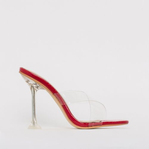Elvie Red Patent Python Print Clear Mule Heels