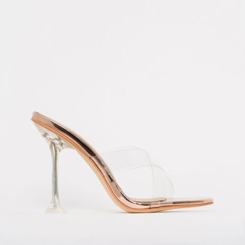 Elvie Rose Gold Clear Mule Heels