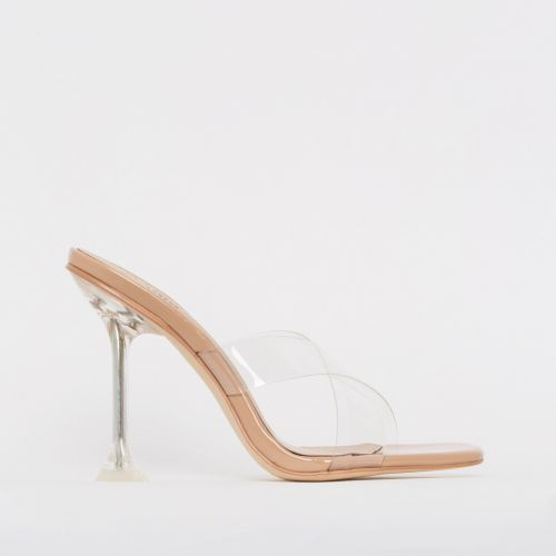 Elvie Nude Patent Clear Mule Heels