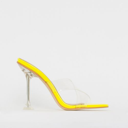 Elvie Yellow Patent Clear Mule Heels