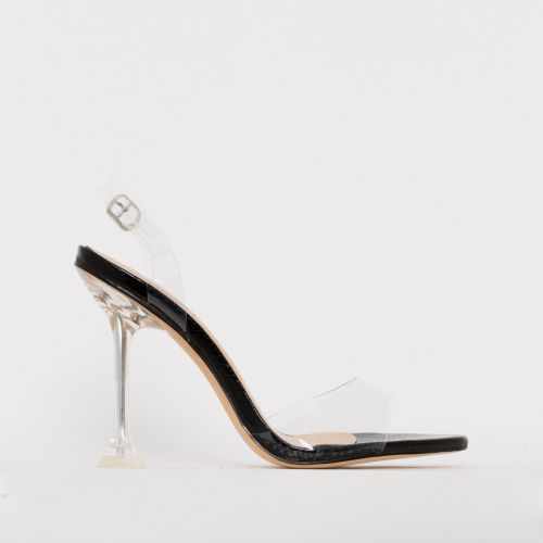 Belle Black Patent Snake Print Clear Slingback Mule Heels