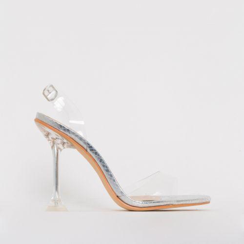 Belle Silver Snake Print Clear Slingback Mule Heels