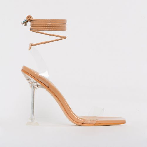 Lenor Nude Patent Clear Tie Up Heels