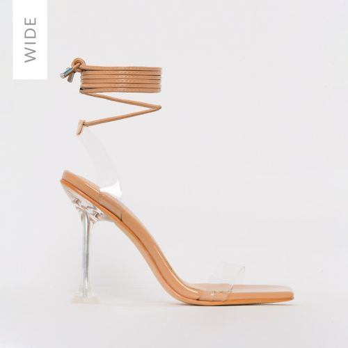 Lenor Wide Fit Nude Patent Clear Tie Up Heels