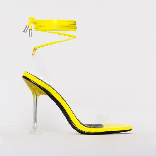 Lenor Yellow Patent Clear Tie Up Heels