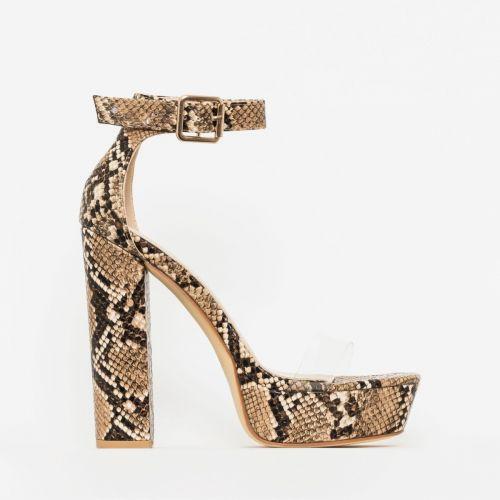 Milly Beige Snake Print Clear Platform Block Heels