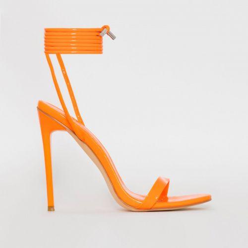 Whitney Orange Patent Tie Up Stiletto Heels