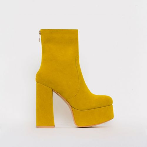 Lacey Mustard Suede Chunky Platform Ankle Boots