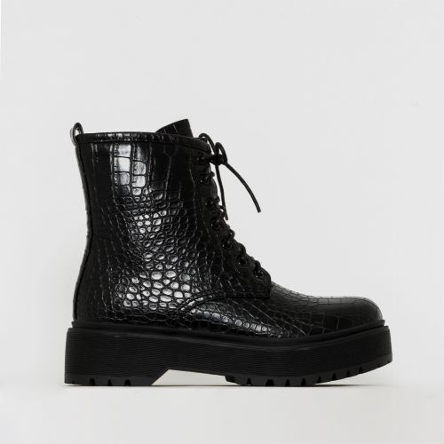 Roxy Black Croc Print Chunky Lace Up Ankle Boots